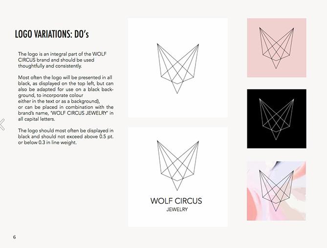 Variazioni del logo per Wolf Circus Jewelry