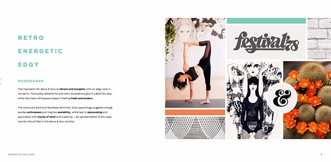 Tavolozza di colori per Barre & Soul la cui ispirazione per il brand include Retro, Energetic e Edgy
