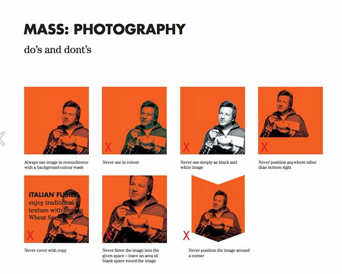 Guida allo stile del brand per Jamie Oliver con immagini a riquadri rossi che mostrano restrizioni fotografiche