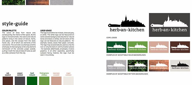Guida di stile per Herban Kitchen con otto varianti di logo e sei tessere con codice colore