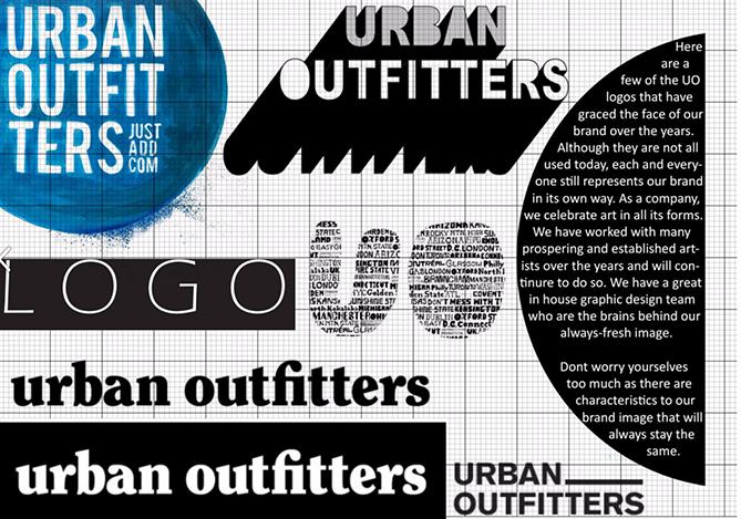 Guida allo stile del marchio per Urban Outfitters con varianti del logo in bianco e nero