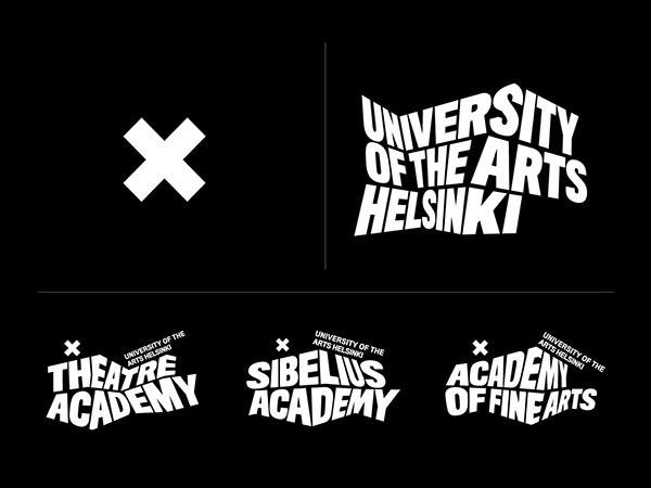 Guida allo stile del marchio dell'Università di Helsinki con sfondo nero e carattere bianco senza logo X