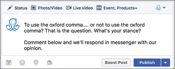 esempio di una domanda polarizzante su oxford comma