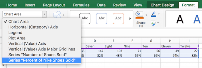 "Aggiunta della serie ""Percentuale di scarpe Nike vendute"" come set di dati aggiuntivo in Excel per Mac ""width ="" 690 ""style ="" width: 690px; ""srcset ="" https://blog.hubspot.com/hs-fs/hubfs /series-axis-dropdown.png?t=1538014629042&width=345&name=series-axis-dropdown.png 345w, https://blog.hubspot.com/hs-fs/hubfs/series-axis-dropdown.png?t= 1538014629042 & width = 690 & name = series-axis-dropdown.png 690w, https://blog.hubspot.com/hs-fs/hubfs/series-axis-dropdown.png?t=1538014629042&width=1035&name=series-axis-dropdown.png 1035w, https://blog.hubspot.com/hs-fs/hubfs/series-axis-dropdown.png?t=1538014629042&width=1380&name=series-axis-dropdown.png 1380w, https://blog.hubspot.com /hs-fs/hubfs/series-axis-dropdown.png?t=1538014629042&width=1725&name=series-axis-dropdown.png 1725w, https://blog.hubspot.com/hs-fs/hubfs/series-axis- dropdown.png? t = 1538014629042 & width = 2070 & name = series-axis-dropdown.png 2070w ""sizes ="" (larghezza massima: 690px) 100vw, 690px"