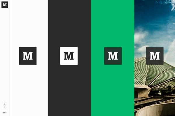 Guida allo stile del marchio da Medium, con una tavolozza di colori bianco, nero e verde.