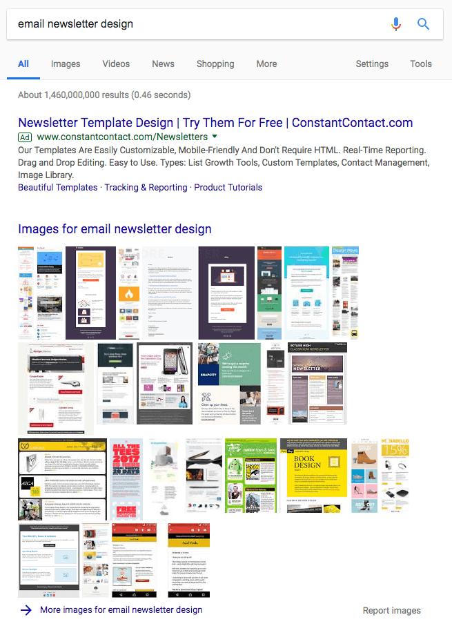 Pacchetto immagini su una pagina dei risultati del motore di ricerca di Google