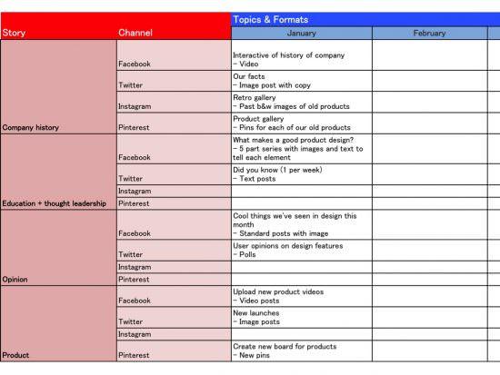 Esempio di calendario dei contenuti