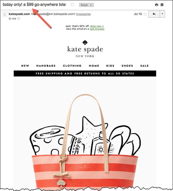 Annuncio di Kate Spade