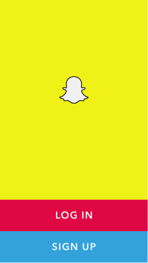 Schermata iniziale di Snapchat per accedere o registrarsi