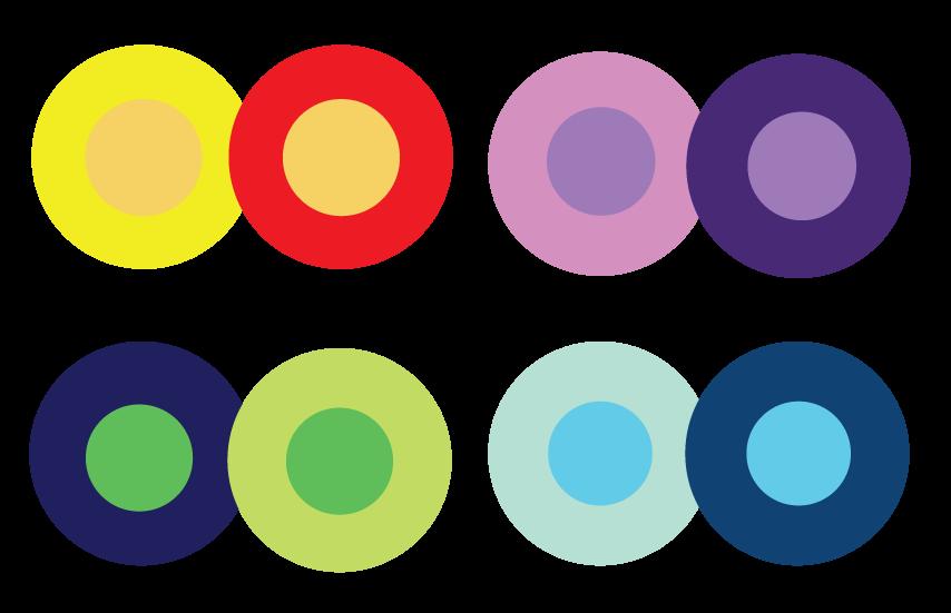 Quattro paia di cerchi colorati che mostrano un diverso contesto cromatico