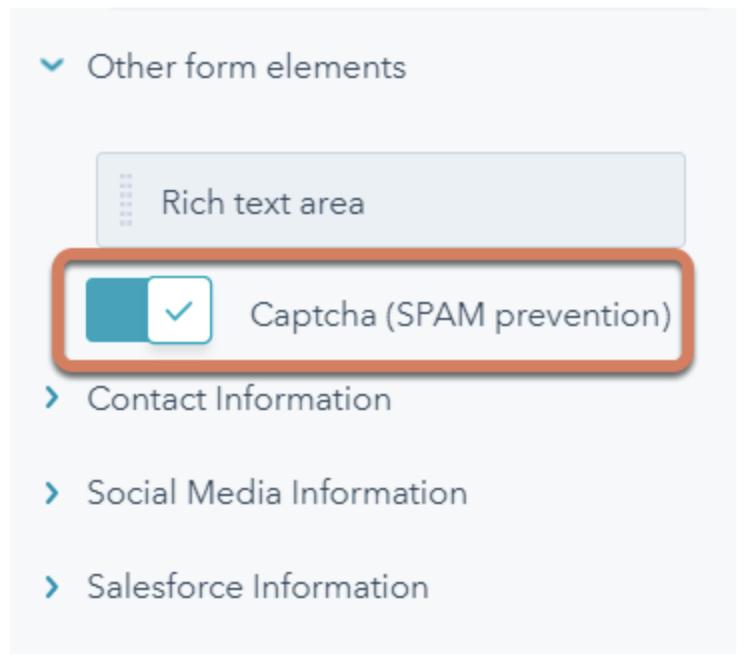 captcha-in-HubSpot