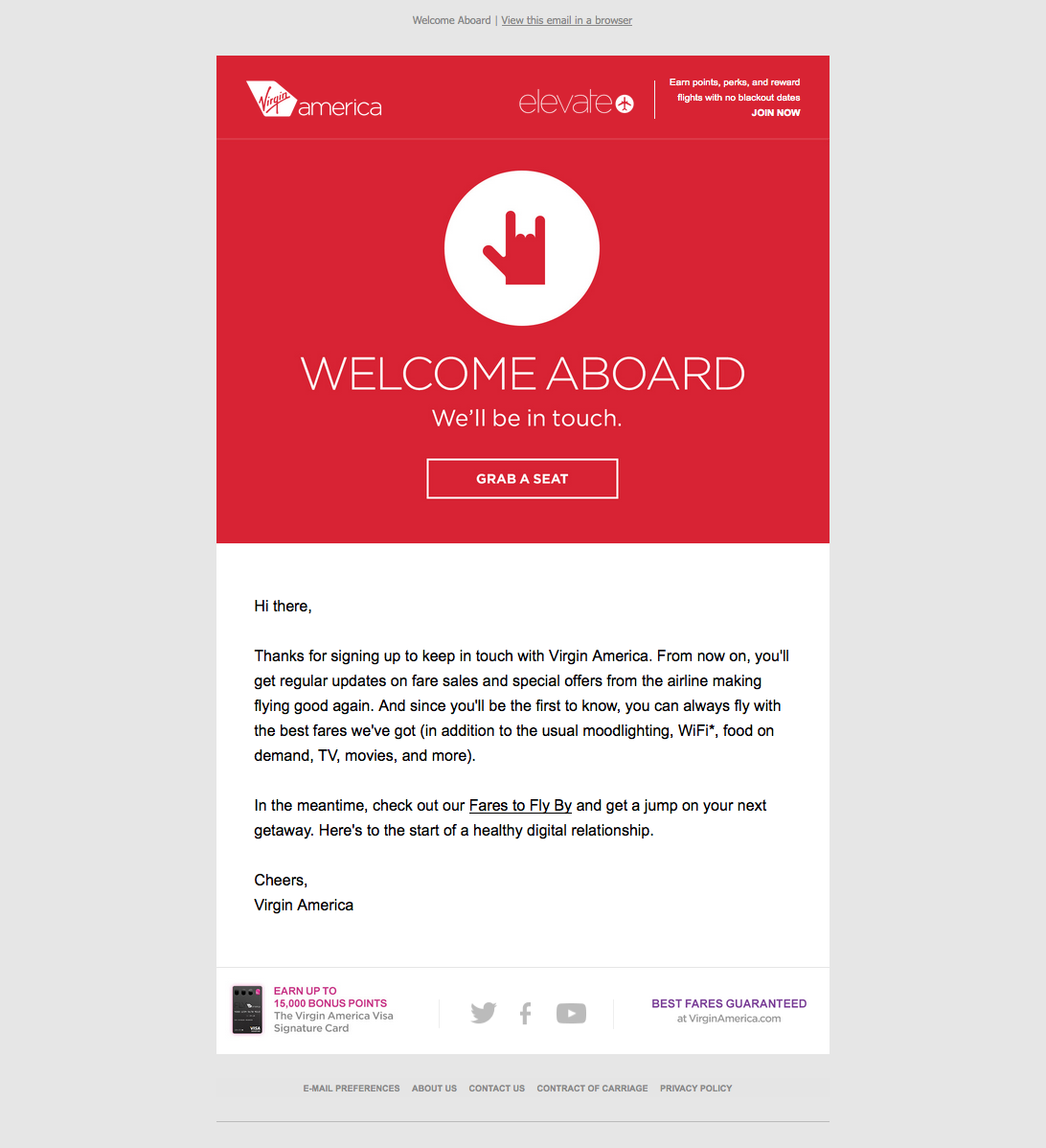 "Virgin America accoglie l'e-mail con un CTA rosso per iniziare ""title ="" virgin-america-welcome-email.png"