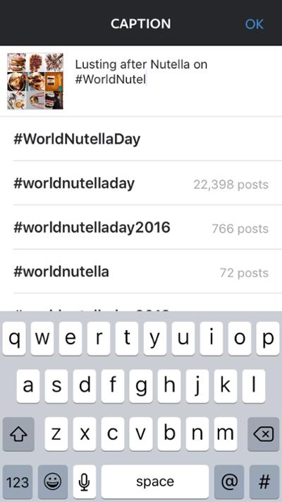 """Nutella utente che mostra come usare i suggerimenti di hashtag di Instagram in una didascalia """"title ="""" nutella-hashtag-suggestions.png """"width ="""" 400 """"data-constrained ="""" true """"style ="""" width: 400px; """"srcset ="""" https: / /blog.hubspot.com/hs-fs/hubfs/nutella-hashtag-suggestions.png?t=1539673814433&width=200&name=nutella-hashtag-suggestions.png 200w, https://blog.hubspot.com/hs-fs/ hubfs / nutella-hashtag-suggestions.png? t = 1539673814433 & width = 400 & name = nutella-hashtag-suggestions.png 400w, https://blog.hubspot.com/hs-fs/hubfs/nutella-hashtag-suggestions.png?t = 1539673814433 & width = 600 & name = nutella-hashtag-suggestions.png 600w, https://blog.hubspot.com/hs-fs/hubfs/nutella-hashtag-suggestions.png?t=1539673814433&width=800&name=nutella-hashtag-suggestions. png 800w, https://blog.hubspot.com/hs-fs/hubfs/nutella-hashtag-suggestions.png?t=1539673814433&width=1000&name=nutella-hashtag-suggestions.png 1000w, https: //blog.hubspot. com / hs-fs / hubfs / nutella-hashtag-suggestions.png? t = 1539673814433 & width = 1200 & name = nutella-hashtag-suggestio ns.png 1200w """"sizes ="""" (larghezza massima: 400px) 100vw, 400px"""