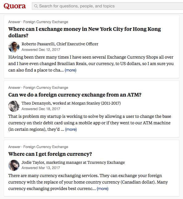Gruppo di domande Quora sullo scambio di valuta estera