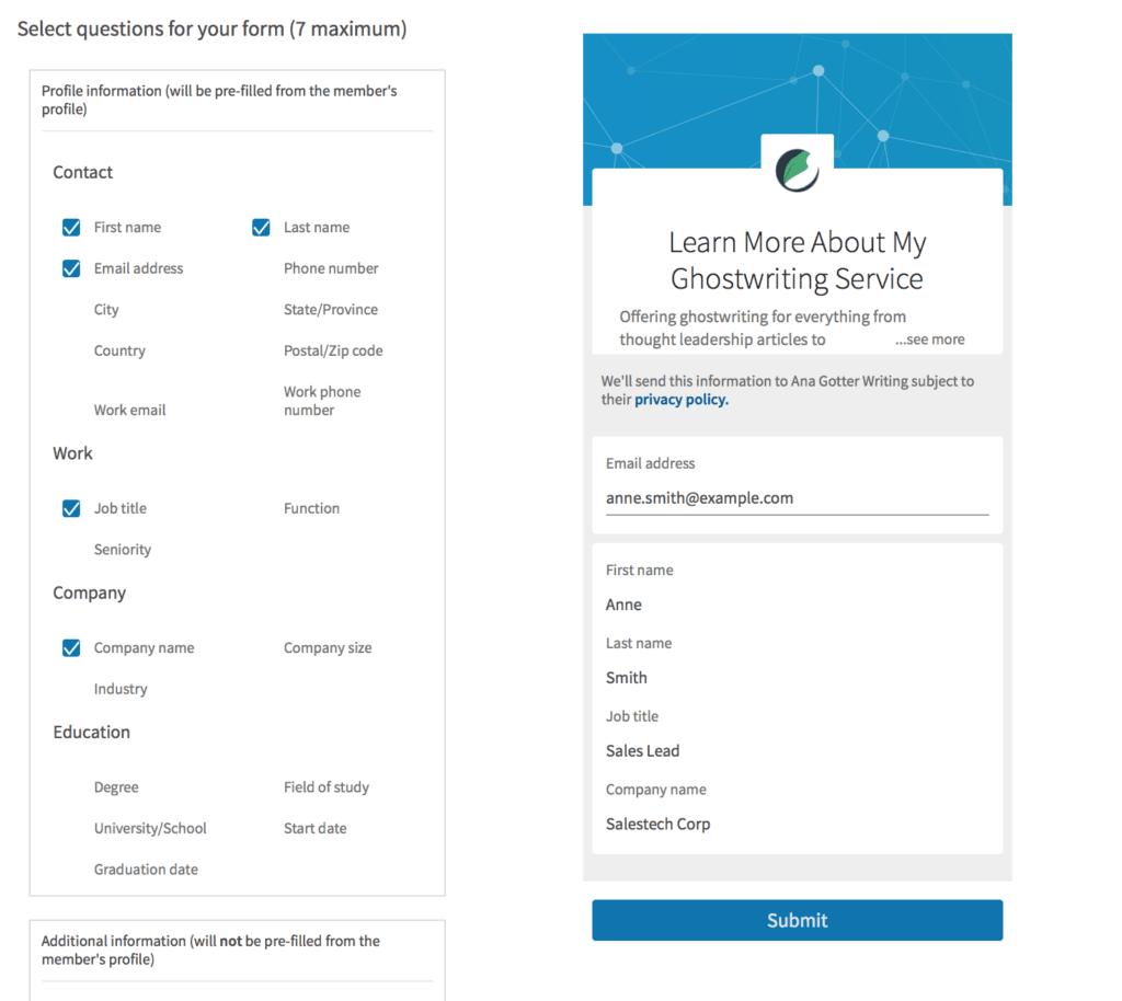 Annunci lead di LinkedIn