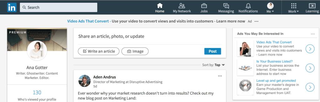 Annunci di LinkedIn
