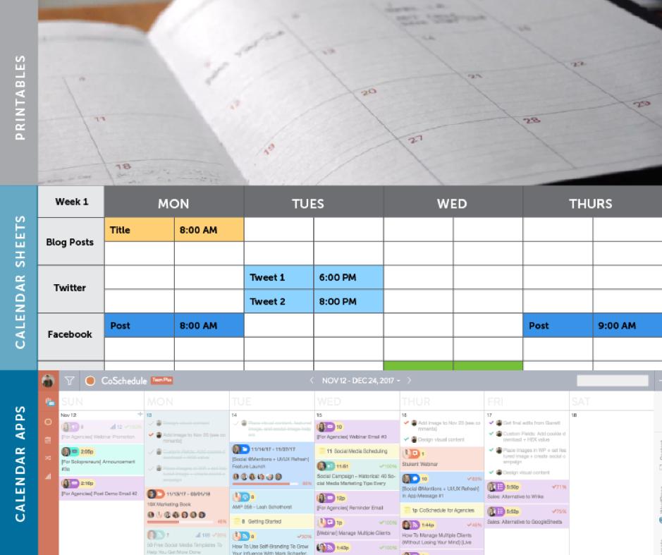 Modello di calendario dei contenuti annuali