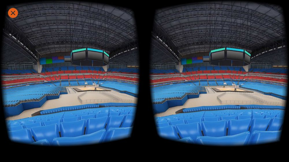 Vista a 360 ° dello stadio di basket in VR