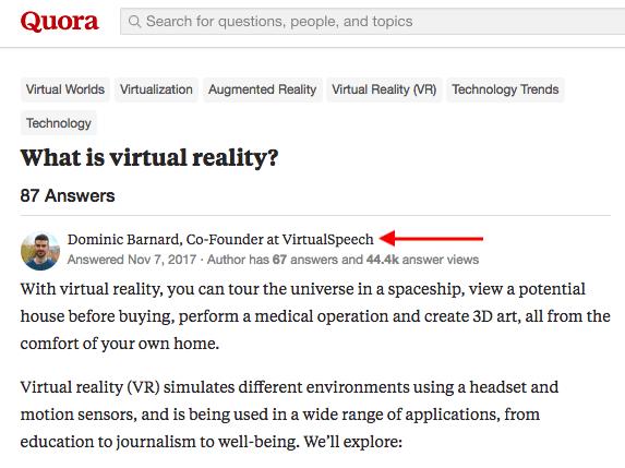 """Domanda su Quora chiedendo Che cos'è la realtà virtuale, risposta dall'uomo con titolo professionale """"srcset ="""" https://blog.hubspot.com/hs-fs/hubfs/professional-title-quora.png?t=1539826148523&width=287&name=professional -title-quora.png 287w, https://blog.hubspot.com/hs-fs/hubfs/professional-title-quora.png?t=1539826148523&width=573&name=professional-title-quora.png 573w, https: / /blog.hubspot.com/hs-fs/hubfs/professional-title-quora.png?t=1539826148523&width=860&name=professional-title-quora.png 860w, https://blog.hubspot.com/hs-fs/ hubfs / professional-title-quora.png? t = 1539826148523 & width = 1146 & name = professional-title-quora.png 1146w, https://blog.hubspot.com/hs-fs/hubfs/professional-title-quora.png?t = 1539826148523 & width = 1433 & name = professional-title-quora.png 1433w, https://blog.hubspot.com/hs-fs/hubfs/professional-title-quora.png?t=1539826148523&width=1719&name=professional-title-quora. png 1719w """"sizes ="""" (larghezza massima: 573px) 100vw, 573px"""