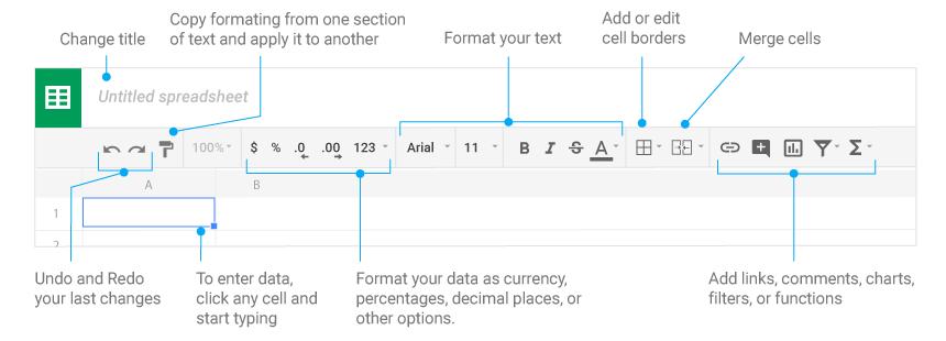 google-sheets-barra degli strumenti