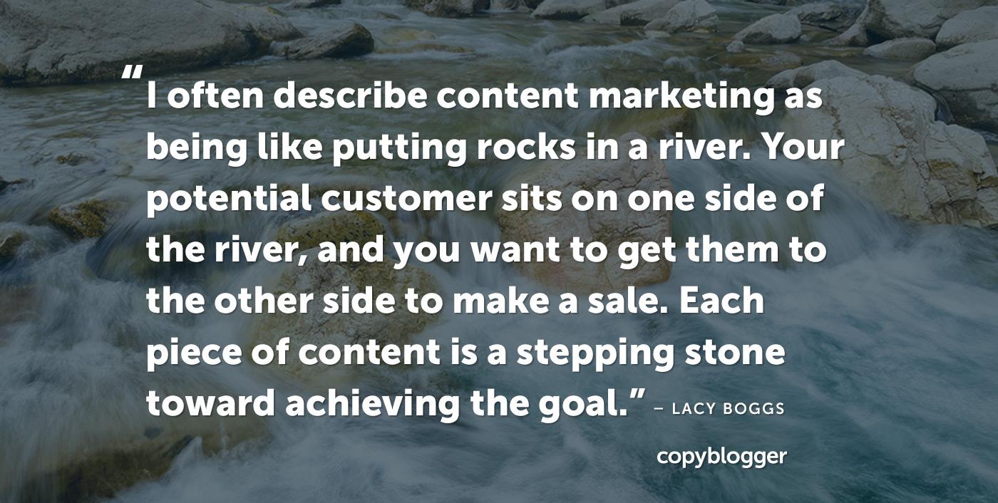 Descrivo spesso il content marketing come essere come mettere pietre in un fiume. Il tuo potenziale cliente si trova su un lato del fiume e tu vuoi portarli dall'altra parte per fare una vendita. Ogni pezzo di contenuto è un trampolino verso il raggiungimento dell'obiettivo.