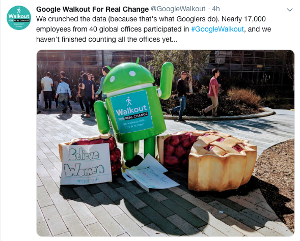 Tweet di Google Walkout