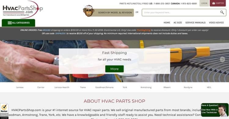 marchi di e-commerce innovativi hvac parts shop
