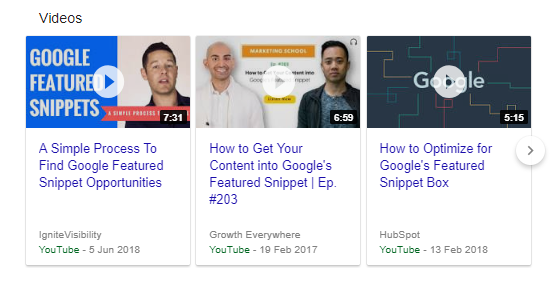 Snippet in primo piano video di YouTube