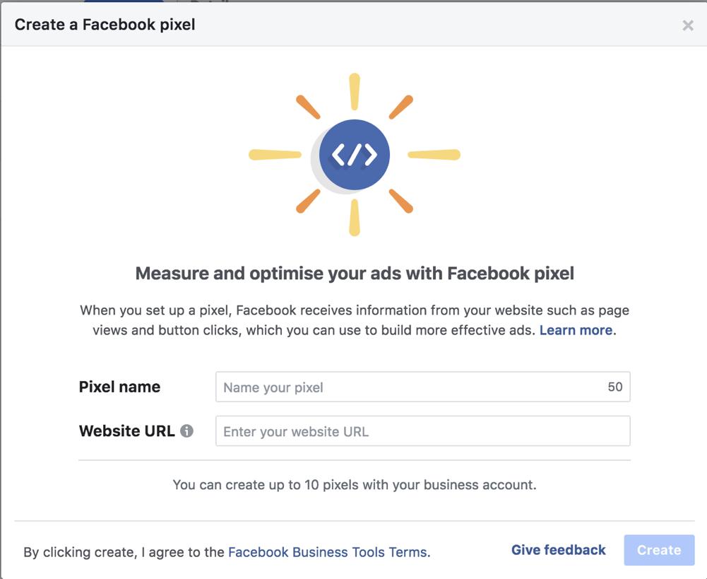 creazione di pixel di Facebook