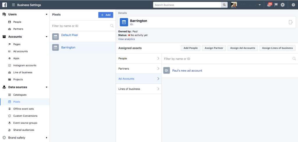 il pixel di Facebook assegna all'account pubblicitario