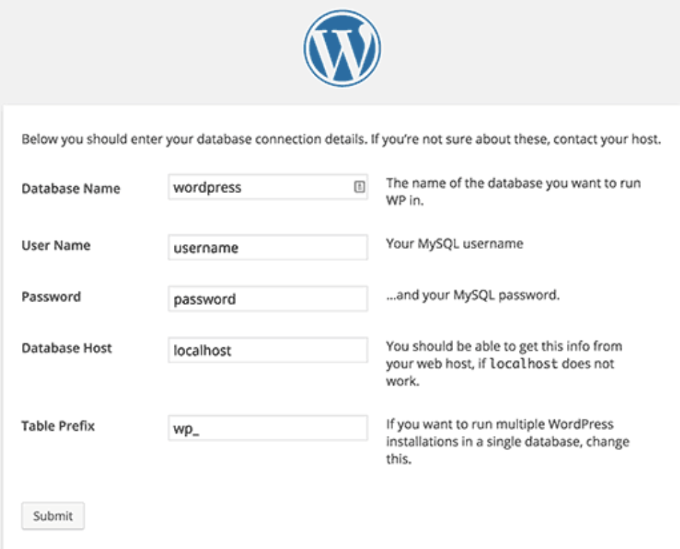WordPress database-name