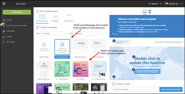 mostra diverse opzioni in Unbounce per creare pagine di destinazione