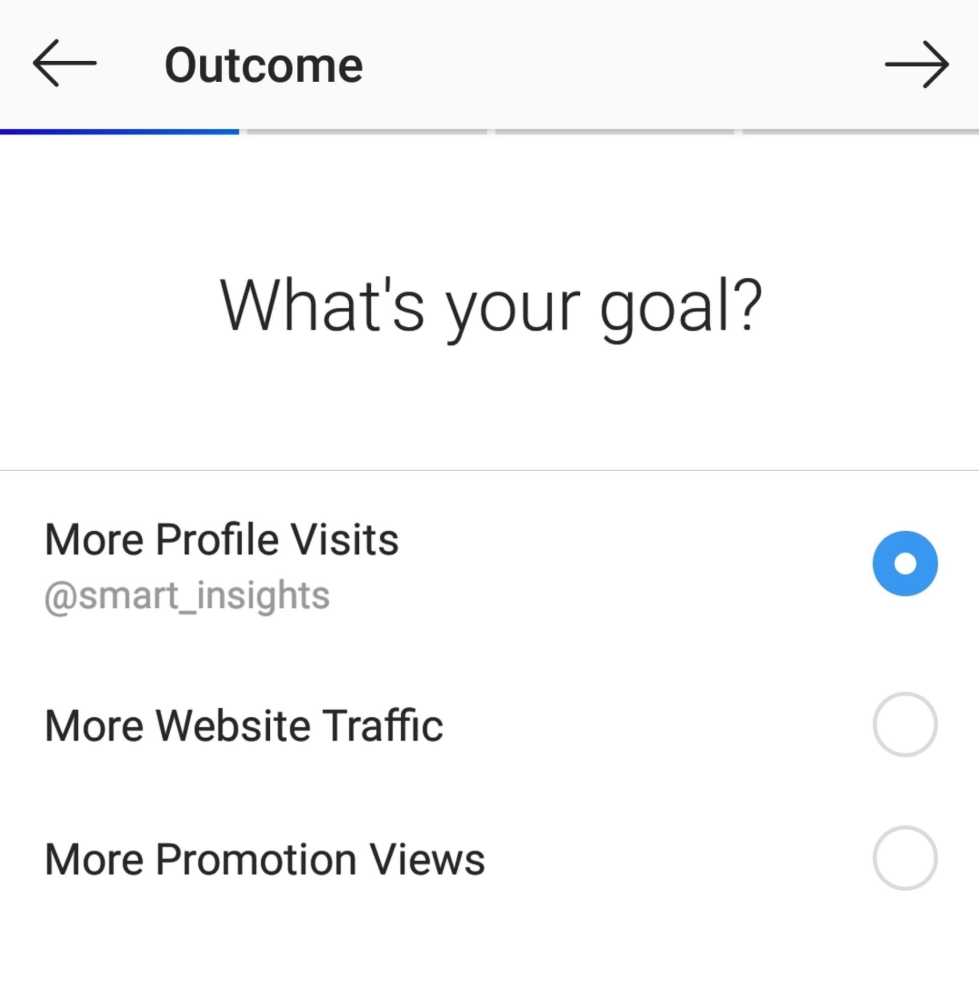 Opzioni di promozione degli annunci di Instagram