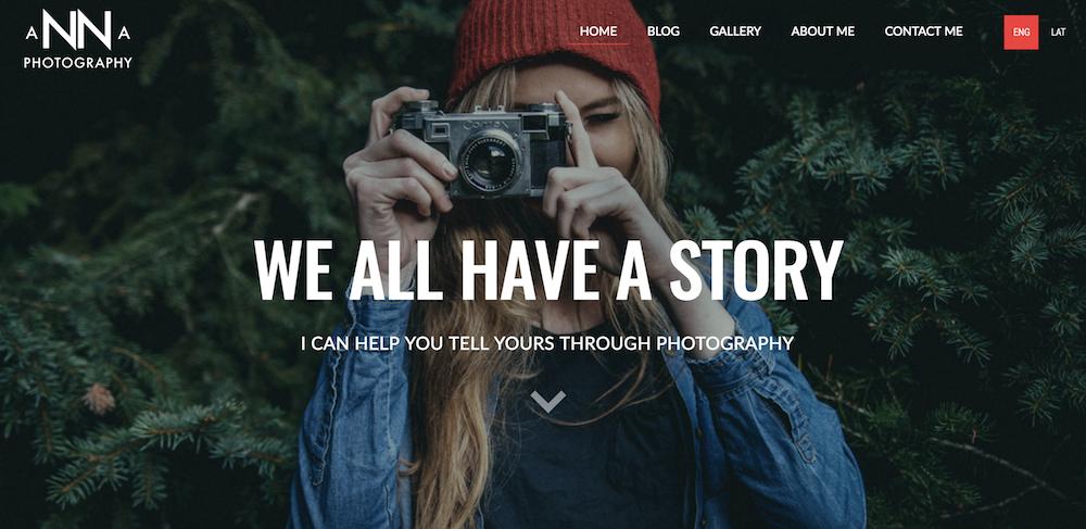 Sito web di Anna Photography realizzato con Mozello