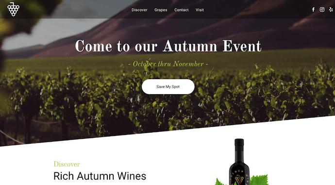 Sito web che promuove l'evento del vino costruito con Duda