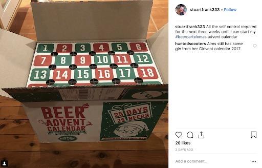 Cartella della birra con esperienza in scatola
