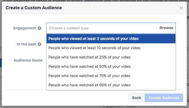 retargeting personalizzato per i video su Facebook