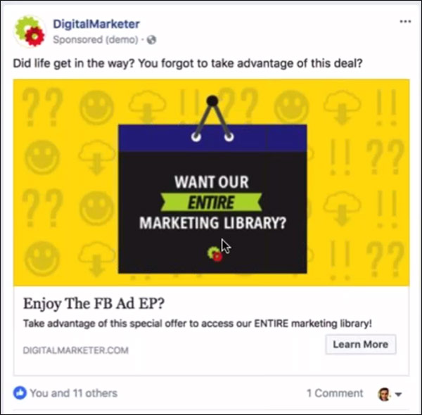 un annuncio Facebook DigitalMarketer