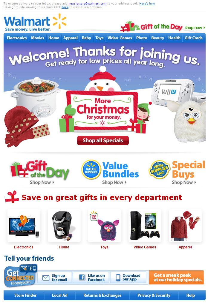 Esempio di email per le vacanze automatizzate di benvenuto Walmart