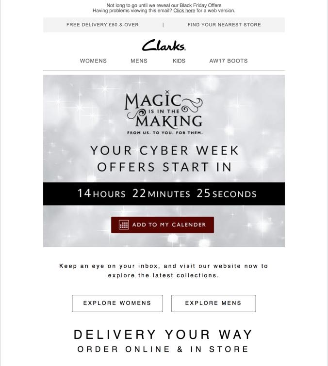 Promemoria conto alla rovescia di esempio di Clarks Holiday Email
