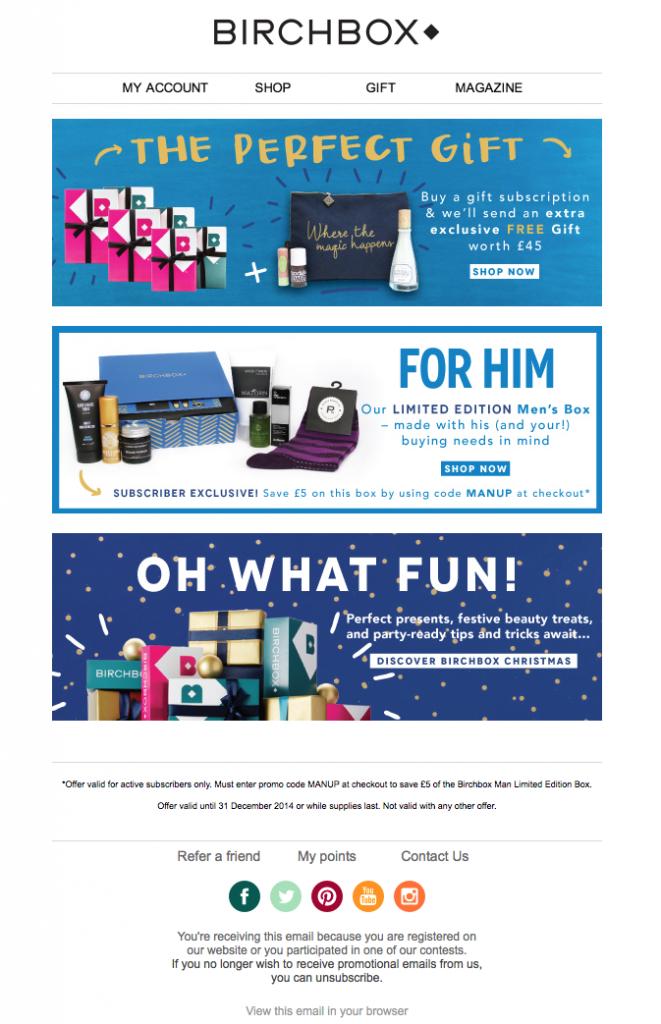 Email promozionale Holiday Birchbox Scegli la tua avventura