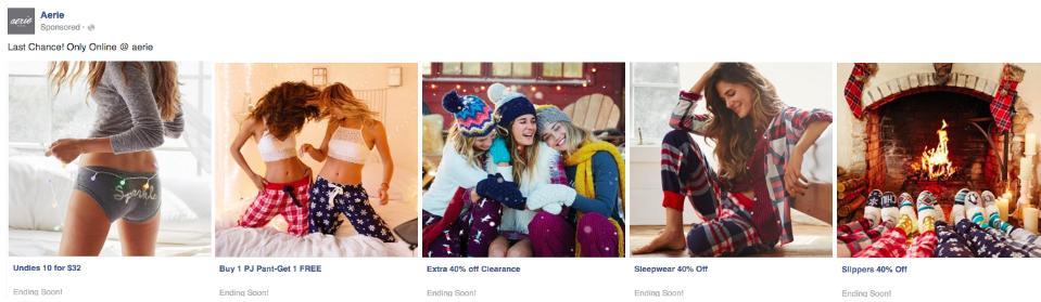 Esempio di annunci Carousel Holiday Facebook