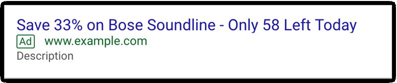 Esempio di urgenza Black Friday di Google Ads