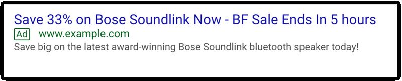 Esempio di annunci del Black Friday di Google