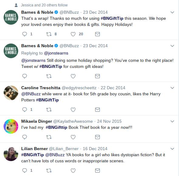 Esempio di Twitter di Barnes _ Noble Holiday