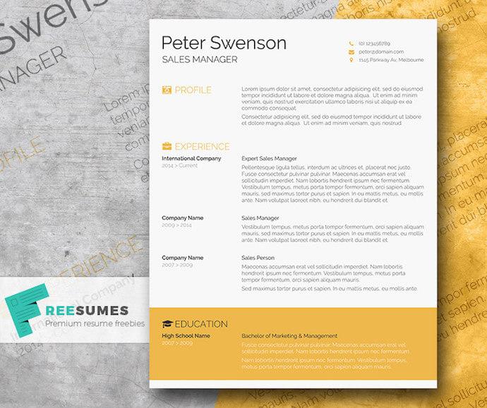 Modello di curriculum giallo dorato per MS Word