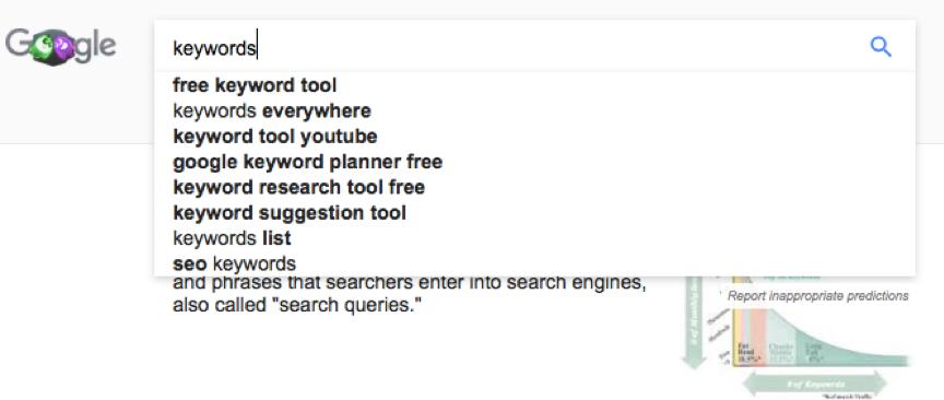 Ricerca di parole chiave di Google