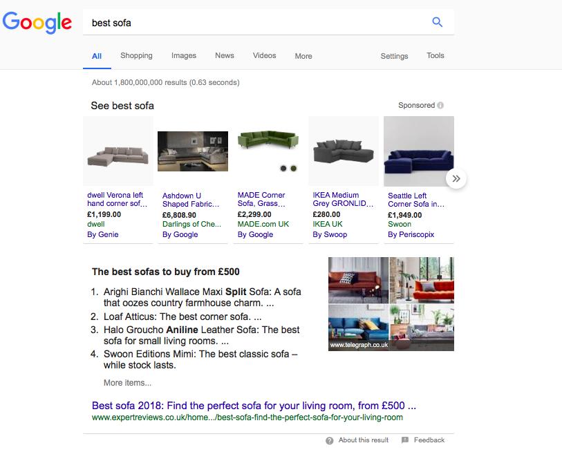 Il miglior divano di ricerca Google