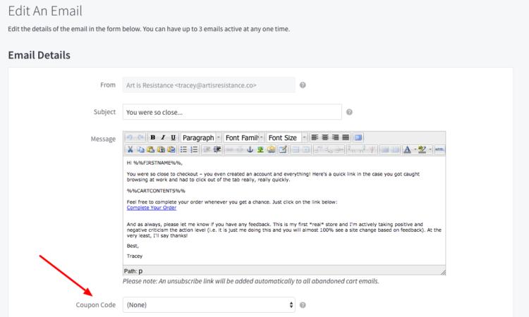 ottimizzazione del tasso di conversione bigcommerce abbandona l'editor email del carrello 2018