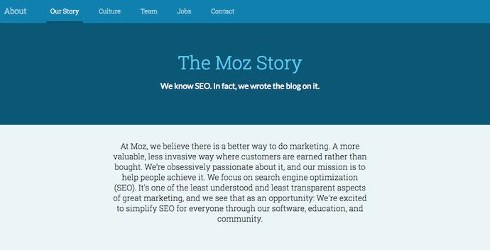 La storia di Moz nella sua pagina Chi siamo